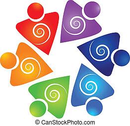 渦巻, ロゴ, ベクトル, チームワーク, ビジネス