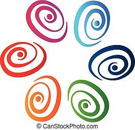 渦巻, ロゴ, 抽象的, ベクトル, チームワーク