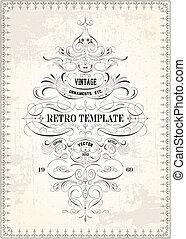 渦巻, 型, victorian, ベクトル, テンプレート