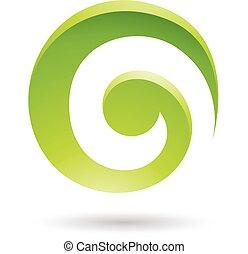 渦巻, 抽象的, 緑, アイコン