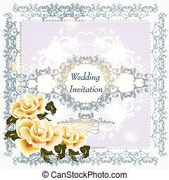 渦巻, 招待, カード, 結婚式