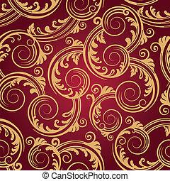 渦巻, 金, &, パターン, seamless, 赤