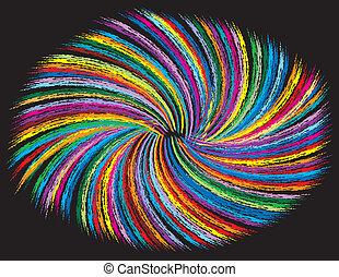 渦巻, 黒, カラフルである, 背景