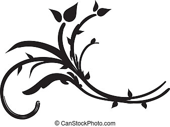 渦巻, 黒, 植物相, デザイン