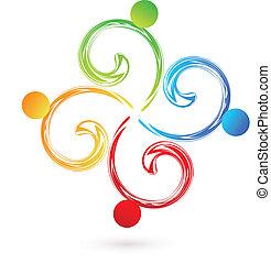 渦巻, swooshes, ベクトル, チームワーク, ロゴ