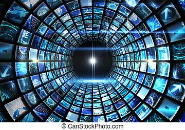 渦, の, デジタル, スクリーン, 中に, 青