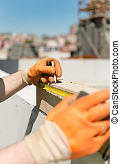 測定, そして, 印, 木製の梁