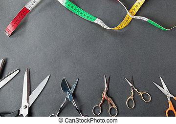測定, はさみ, 裁縫, テープ