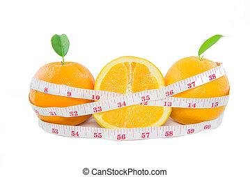 測定, オレンジ, フルーツ, テープ, 背景, 新たに, 白