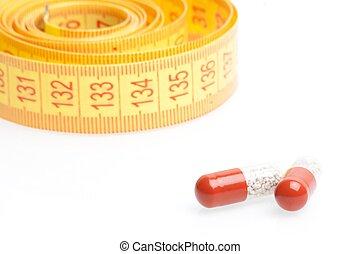 測定, ダイエットする, 医学, テープ, 前部, 丸薬