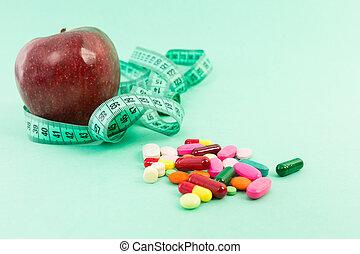 測定, ダイエットする, 概念, 自然, アップル, テープ, 丸薬