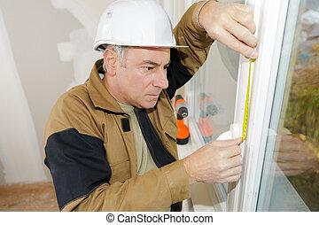 測定, ダブル, 窓, うわぐすりをかけること, 取付人