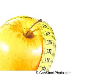 測定, テキスト, 概念, のまわり, スペース, 黄色, テープ, 食事, アップル