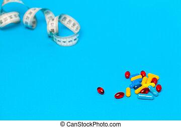 測定, テープ, 丸薬, 青い背景, 減量