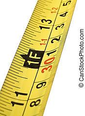 測定, テープ, 終わり, スケール, の上