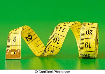測定, テープ, 背景, 緑