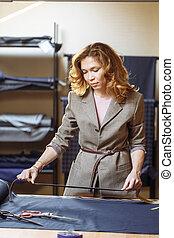 測定, ドレスメーカー, 女, 仕事, アトリエ, テープ