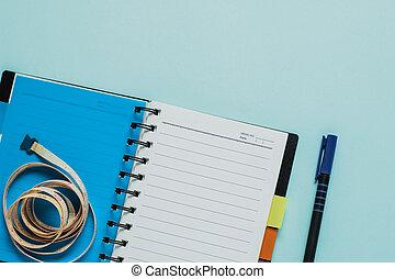 測定, ノート, 背景, テープ, 青