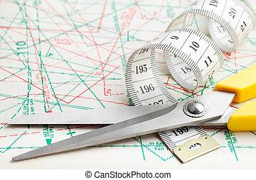 測定, パターン, 裁縫, テープ, はさみ