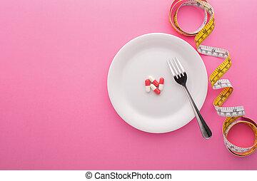 測定, ピンク, 食事である, 背景, プレート, 補足, テープ
