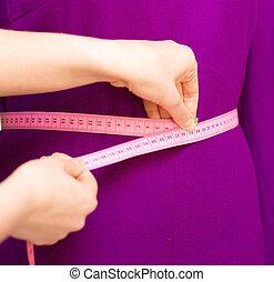 測定, ファッション, 仕事, mannequin., デザイナー, テープ