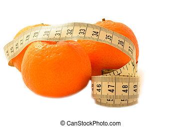 測定, フルーツ, テープ, diet., 熟した