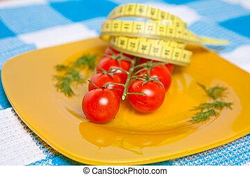 測定, プレート, さくらんぼ, 黄色, テープ, 柔軟である, トマト