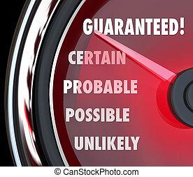 測定, 信頼, probable, レベル, 確実性, guaranteed, 多分