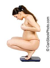 測定, 女, weigth, 彼女, 妊娠した