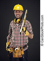 測定, 微笑, 建築作業員, 保有物