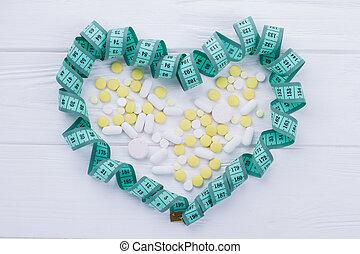 測定, 心の形をしている, テープ, pills.