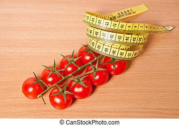 測定, 木製である, さくらんぼ, テープ, 背景, 柔軟である, トマト