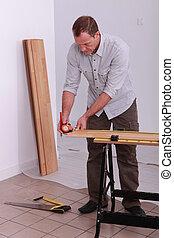 測定, 木製である, handyman, 板, measure-tape