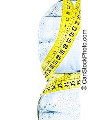 測定, 栄養, 概念, 食事, プラスチック, 水, びん, 半分, テープ, 低下