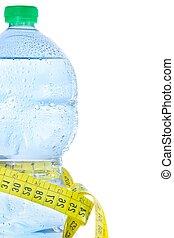 測定, 概念, 半分, 食事, プラスチック, 水, びん, フィットネス, テープ, 低下
