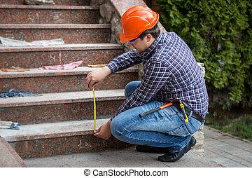 測定, 点検, 建築者, 高さ, テープ, 階段
