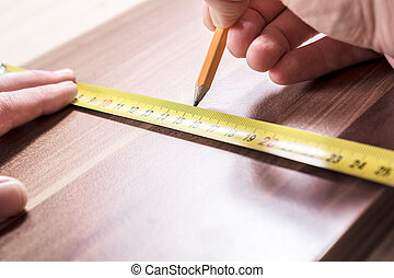 測定, 鉛筆, 木製である, 大工, 印, 板, 作成