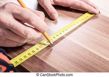 測定, 鉛筆, 木製である, 道具, 後で, 大工, 印, 板, 作成