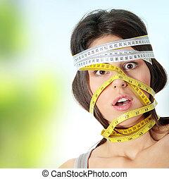 測定, 頭, 女, のまわり, 彼女, テープ
