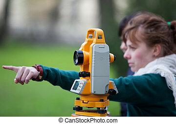 測量技師, 仕事, 若い, 土地