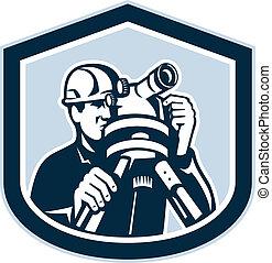 測量技師, 経緯儀, 測量, レトロ, 保護