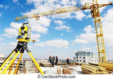 測量技師, 装置, 建築現場, 経緯儀