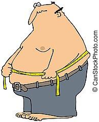 測量, 他的, 腰, 人