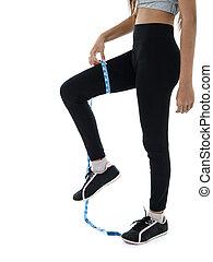 測量, 婦女, loss., 重量, 适合, 健身, 飲食, slimming, 她, 磁帶措施, ime, 女孩, 白色, 運動裝, 大腿