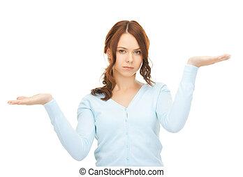 測量, 某事, 上, the, 手掌, ......的, 她, 手