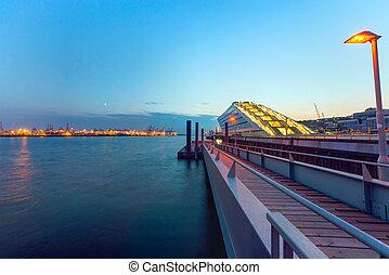 港口, 以後, 傍晚, 漢堡