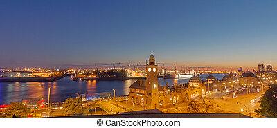港口, 全景, 漢堡