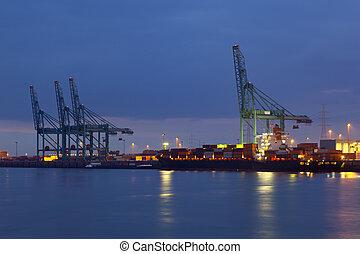 港口, 容器, 夜晚
