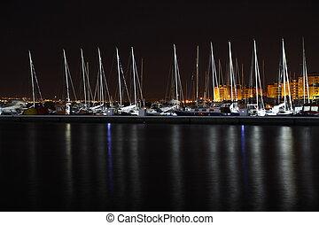 港口, 帆船, 夜晚