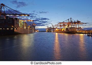 港口, 終端, 晚上, 容器, 船